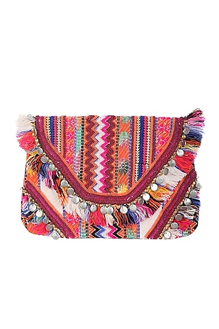 Multi Colored Bag With Embellishments by 5 Elements