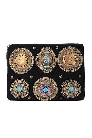 Black Embellished Zipper Bag by 5 Elements