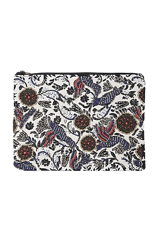 Multi Colored Embellished Zipper Bag by 5 Elements