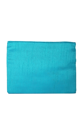 Turquoise Embellished Zipper Bag by 5 Elements