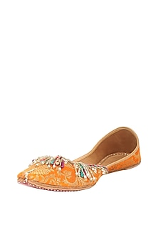Orange Sequins Embroidered Juttis by 5 Elements