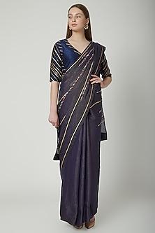 Midnight Blue Embroidered Saree Set by 5X by Ajit Kumar
