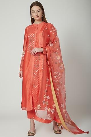 Orange Embroidered Kurta Set by 5X By Ajit Kumar