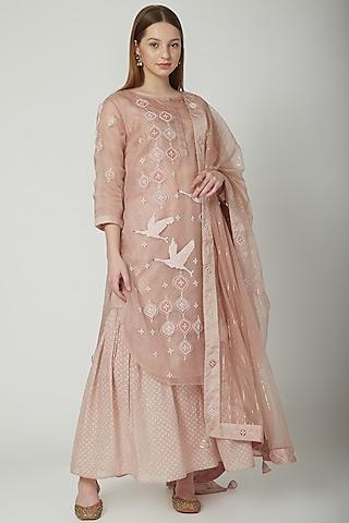 Blush Pink Embroidered Kurta Set by 5X By Ajit Kumar