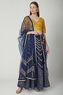 Midnight Blue & Mustard Embroidered Lehenga Set by 5X by Ajit Kumar
