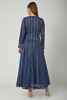Midnight Blue Sequins Embroidered Anarkali Set by 5X by Ajit Kumar
