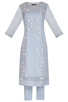 Light Blue Embroidered Kurta Set by 5X by Ajit Kumar