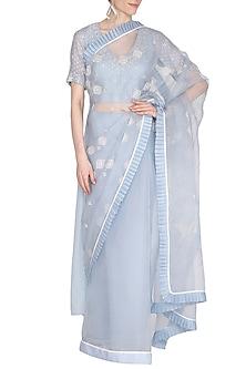 Light Blue Embroidered Saree Set by 5X by Ajit Kumar