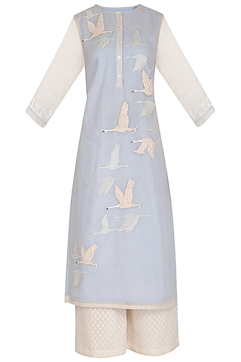 Light Blue Patch Embroidered Kurta Set by 5X by Ajit Kumar