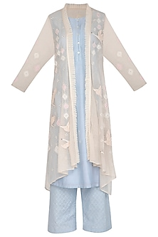 Light Blue Tunic With Pants & Embroidered Jacket by 5X by Ajit Kumar