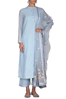 Sky Blue Embroidered Tunic Set by 5X by Ajit Kumar