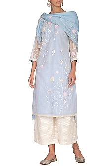 Sky Blue Aari Embroidered Tunic Set by 5X by Ajit Kumar