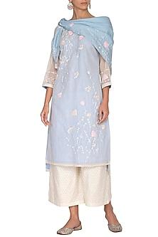 Sky Blue Aari Embroidered Tunic Set by 5X by Ajit Kumar