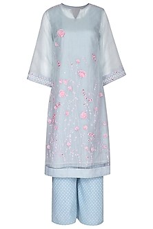 Sky Blue Embroidered Tunic Set With Inner by 5X by Ajit Kumar