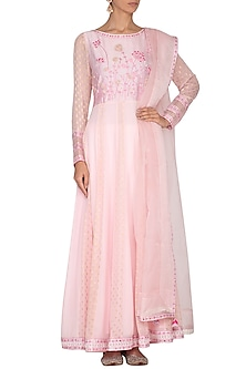 Blush Pink Embroidered Anarkali Set by 5X by Ajit Kumar