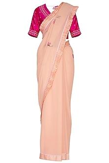 Peach Applique Saree Set by 5X by Ajit Kumar