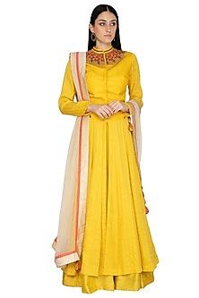 Mustard Embellished Anarkali Set by 5X by Ajit Kumar