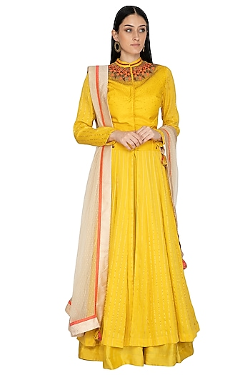 Mustard Embellished Anarkali Set by 5X by Ajit Kumar