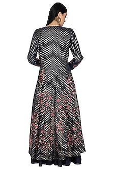 Black Embroidered Anarkali Set by 5X by Ajit Kumar