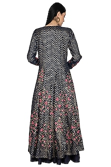 Black Embroidered Anarkali Set by 5X by Ajit Kumar