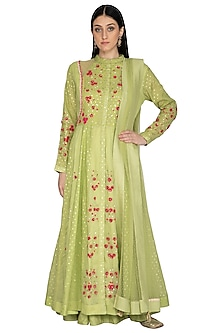 Mint Green Embroidered Anarkali Set by 5X by Ajit Kumar