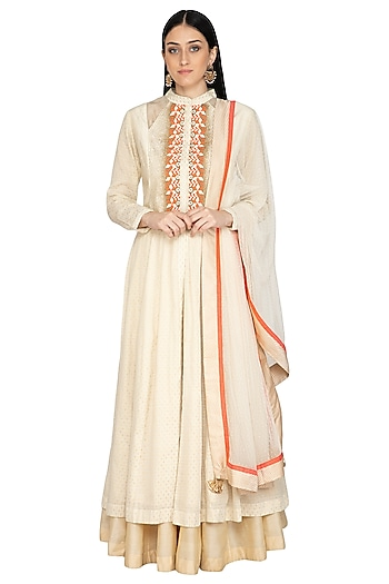 Beige Embellished Anarkali Set by 5X by Ajit Kumar