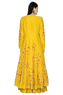Mustard Embroidered Anarkali Set by 5X by Ajit Kumar
