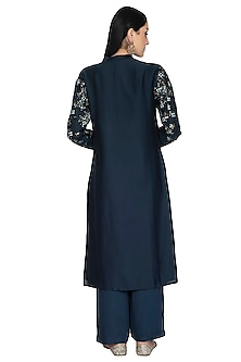 Navy Blue Embroidered Tunic Set by 5X by Ajit Kumar