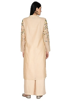 Beige Embroidered Tunic Set by 5X by Ajit Kumar