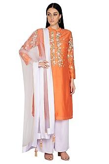Orange Embroidered Tunic Set by 5X by Ajit Kumar