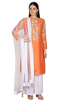 Orange Embroidered Tunic Set by 5X by Ajit Kumar