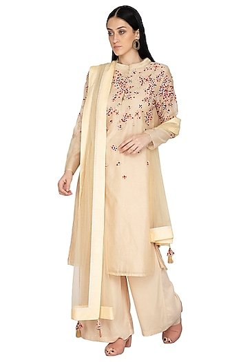 Beige Floral Embroidered Tunic Set by 5X by Ajit Kumar