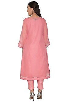 Pink Embroidered Tunic Set by 5X by Ajit Kumar