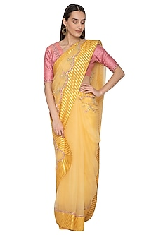 Yellow Embroidered Saree Set by 5X by Ajit Kumar