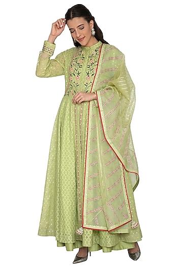 Mint Green Embroidered Anarkali Set by 5X by Ajit Kumar