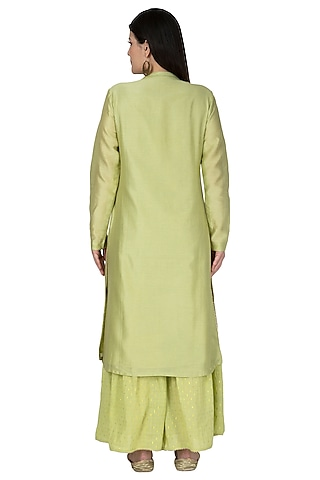 Mint Green Embroidered Sharara Pants by 5X by Ajit Kumar