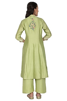 Mint Green Embroidered Tunic Set by 5X by Ajit Kumar