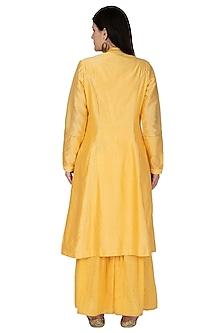 Yellow Embroidered Sharara Set by 5X by Ajit Kumar