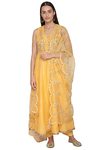 Yellow 3D Embroidered Anarkali Set by 5X by Ajit Kumar