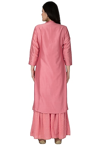 Pink Embroidered Sharara Set by 5X by Ajit Kumar