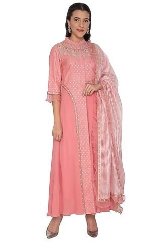 Blush Pink Embroidered Asymmetric Anarkali Set by 5X by Ajit Kumar