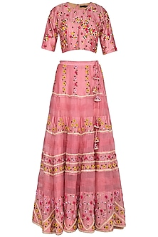 Pink Embroidered Lehenga Set by 5X by Ajit Kumar