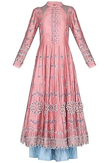 Pink Embroidered Skirt Anarkali Set by 5X by Ajit Kumar