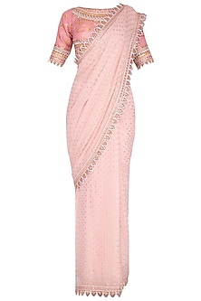 Blush Pink Embroidered Saree Set by 5X by Ajit Kumar