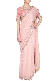 Blush Pink Embroidered Saree Set by 5X by Ajit Kumar