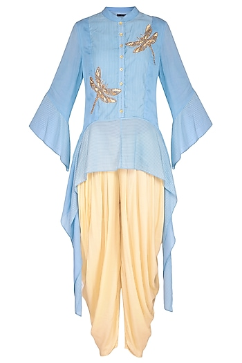 Pastel Blue Embroidered Top With Drape Pants by 5X by Ajit Kumar