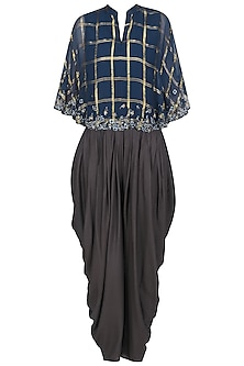 Navy Blue Asymmetric Embroidered Cape Top with Black Dhoti Pants by 5X by Ajit Kumar