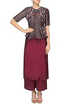 Brown Peplum Jacket and Maroon Palazzo Set by 5X by Ajit Kumar