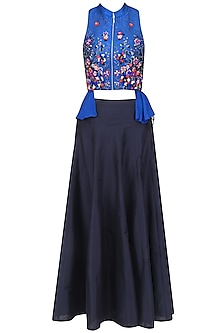 Blue Embroidered Wrap Top and Black Skirt by 5X by Ajit Kumar
