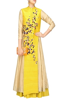 Mustard and Beige Anarkali and Jacket Set by 5X by Ajit Kumar